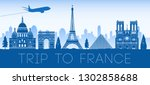 france famous landmark blue... | Shutterstock .eps vector #1302858688