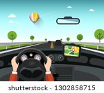 car with gps navigation on road.... | Shutterstock .eps vector #1302858715