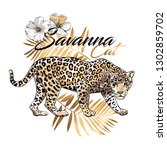 graceful leopard and gold fern... | Shutterstock .eps vector #1302859702