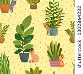 veclor seamless pattern house...   Shutterstock .eps vector #1302864232