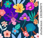 colorful tropical rainforest.... | Shutterstock .eps vector #1302869875
