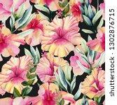 watercolor hibiscus flowers and ... | Shutterstock . vector #1302876715