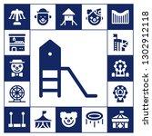 amusement icon set. 17 filled... | Shutterstock .eps vector #1302912118
