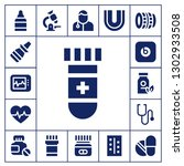 doctor icon set. 17 filled... | Shutterstock .eps vector #1302933508