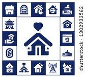 residence icon set. 17 filled... | Shutterstock .eps vector #1302933562