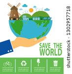 save the world infographic ... | Shutterstock .eps vector #1302957718