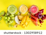 fresh juices smoothie red green ... | Shutterstock . vector #1302958912