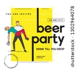 beer party template design.... | Shutterstock .eps vector #1302964078
