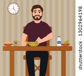 man eating food  happy bearded... | Shutterstock .eps vector #1302964198
