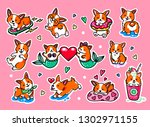 Stock vector cute puppies welsh corgi corgi mermaid large set of different badges fashion patches stickers 1302971155