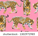 seamless pattern with a... | Shutterstock .eps vector #1302972985