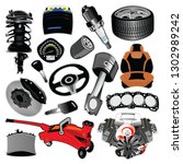 set of auto spare parts  vector ...   Shutterstock .eps vector #1302989242