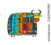 funny cow  sketch for your... | Shutterstock .eps vector #1302996385