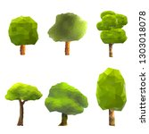 set of trees low poly style.... | Shutterstock .eps vector #1303018078