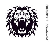 Stock vector head of lion in black isolated white vector design inspiration for logo identity 1303018888