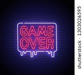 game popup. game over neon sign ... | Shutterstock .eps vector #1303026595