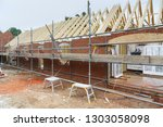 Building the annexe or annex to a house from brick and timber frame