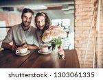 portrait of beautiful emotional ... | Shutterstock . vector #1303061335