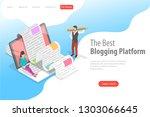 isometric flat vector landing... | Shutterstock .eps vector #1303066645