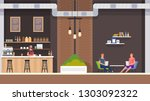 modern cafe interior with... | Shutterstock .eps vector #1303092322