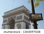 triumphal arch. paris. france.... | Shutterstock . vector #1303097038