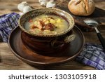 the sour soup made of rye flour.... | Shutterstock . vector #1303105918
