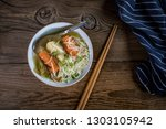 tasty home broth with... | Shutterstock . vector #1303105942