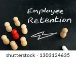 employee retention. wooden...   Shutterstock . vector #1303124635