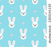 seamless easter pattern with... | Shutterstock .eps vector #1303141135
