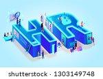 isometric 3d creative letters... | Shutterstock .eps vector #1303149748
