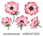 Set Of Watercolor Anemones ...