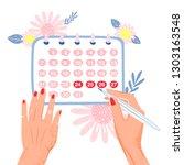 menstrual period illustration.... | Shutterstock .eps vector #1303163548
