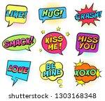 retro colorful comic speech... | Shutterstock .eps vector #1303168348