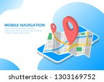 mobile navigation in the phone...   Shutterstock .eps vector #1303169752