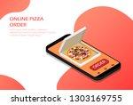 order pizza online in your... | Shutterstock .eps vector #1303169755