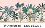 tropical vintage botanical... | Shutterstock .eps vector #1303181338