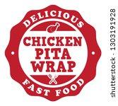 chicken pita wrap stamp | Shutterstock .eps vector #1303191928