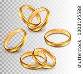 wedding rings set isolated on... | Shutterstock .eps vector #1303195588
