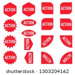 action sticker set. red... | Shutterstock .eps vector #1303204162