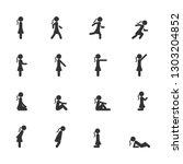 vector set of women standing... | Shutterstock .eps vector #1303204852
