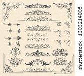 calligraphy borders corners.... | Shutterstock .eps vector #1303214005
