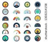 speedometer symbols. level fuel ... | Shutterstock .eps vector #1303214158
