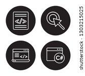 4 linear vector icon set   code ... | Shutterstock .eps vector #1303215025