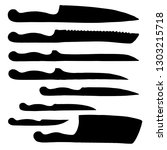 set of different kitchen knives.... | Shutterstock .eps vector #1303215718