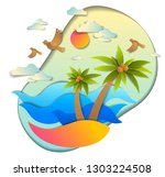 beautiful seascape with sea... | Shutterstock .eps vector #1303224508