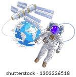 spaceman flying in open space... | Shutterstock .eps vector #1303226518