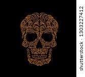 tracery wave pattern skull.... | Shutterstock .eps vector #1303227412