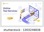 landing page with giant laptop  ... | Shutterstock .eps vector #1303248838