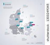 denmark vector map with... | Shutterstock .eps vector #1303249345