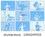 video tutorials. people... | Shutterstock .eps vector #1303249555